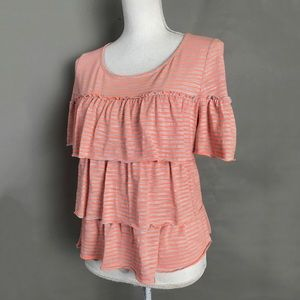 Anthropologie Top Postmark Striped tiered ruffle